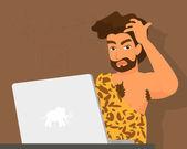 Primitive man has a problem with laptop — Stock Vector