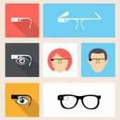 Google glasses icon set — Stock Vector