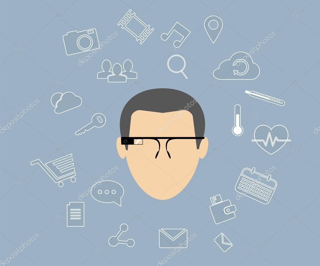 智能眼镜 — 图库矢量图像08