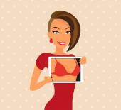 Woman wearing red dress is flirting using tablet pc — Stock Vector