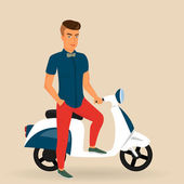 Hipster guy wearing stylish rides his motorbike — Vector de stock