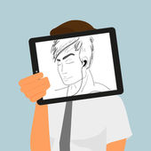 Guy holds tablet pc displaying hand drawing — Vector de stock