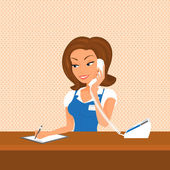 Female receptionist is taking a call — Stock Vector
