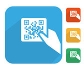 Qr code label with human hand icon set — Stock Vector