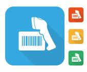 Barcode label with reader icon set — Stockvector