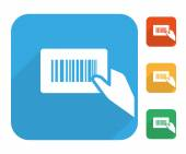 Barcode label with human hand icon set — Stock Vector