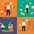 Family with children concept flat icons set — ストックベクタ #56747689