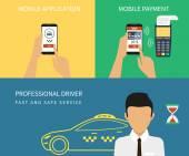 Booking taxi — Stock Vector
