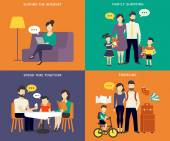 Family with children concept flat icons set — Stock Vector