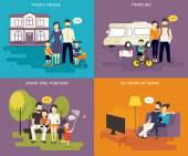 Family with children concept flat icons set — 图库矢量图片
