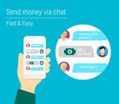 Transferring money via chat — Stock Vector