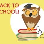 Cute owl sitting on books — Stock Vector #80326138