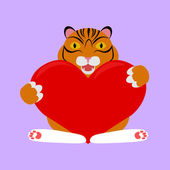 Little tiger with red heart — Stock Vector