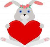 Gray rabbit with red heart — Vettoriale Stock