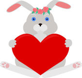 Gray rabbit with red heart — Stock Vector