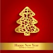 New Year greeting card with gold silhouette of Christmas tree — Stock Vector #56695021