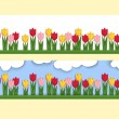 Horizontal banner with paper tulips — Stock Vector #71236219