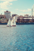 Race sailing yachts in the lake in the center of the modern city — Stock Photo