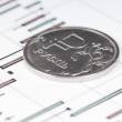 Ruble coin on a graph. Financial up and down trend — Stock Photo #61131889