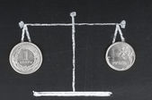 Exchange rate . Coins on the scale. The Russian ruble and polish — Foto de Stock