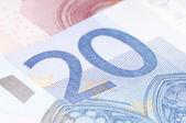20 euro note closeup — Stock Photo