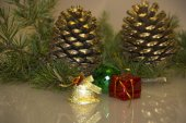 Christmas decoration pine cone — Stock Photo