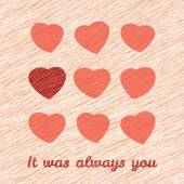 'It was Always You' Happy Valentine's Day Greeting Card. — Stok Vektör
