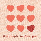 'It's simple to love you' Happy Valentine's Day Sweet Postcard. — Stock Vector