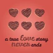 'A true love story never ends' typography. Valentine's Day Love Card. — Vetorial Stock
