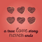 'A true love story never ends' typography. Valentine's Day Love Card. — Wektor stockowy