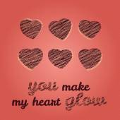 'You make my heart glow' typography. Happy Valentine's Day Greeting Card. — Stock Vector