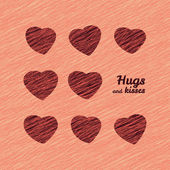 'Hugs and Kisses' Happy Valentine's Day Love Card. — Stock Vector