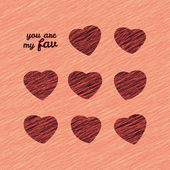 'You are my Fav' Happy Valentine's Day Sweet Card. Love Card with hearts. — Stok Vektör
