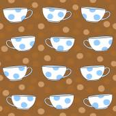Illustration with Polka Dot Tea Cups . — Stock Vector