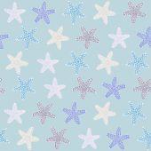 Tropical starfishe texture. — Stock Vector