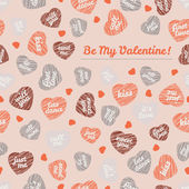 'Be My Valentine!' typography Happy Valentine's Day Card. Romantic postcard. — Stockvektor