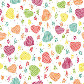 Seamless pattern with pink hearts and confetti. Valentine Day background. — Stock Vector