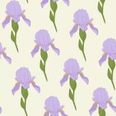 Pale Iris flowers on a bright green background. Floral seamless pattern. — Wektor stockowy