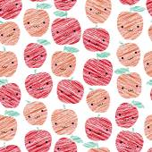 Smiling apples background. Seamless pattern with scratched apples. — Stock Vector