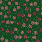 Smiling cherry background. Seamless pattern with scratched cherr — Stock Vector