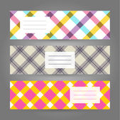 Set of Horizontal Plaid Banners. Abstract Geometric ornament. Vector backgrounds. — Stock Vector