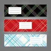 Set of Horizontal Tartan Banners. Abstract Geometric ornament. Vector backgrounds. — Stock Vector