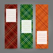 Set of Vertical Tartan Banners. Abstract Geometric ornament. Vector backgrounds. — Stock Vector
