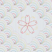 Traditional Japanese Embroidery Ornament with sakura flower. Sashiko. Seamless vector pattern. — Stock Vector