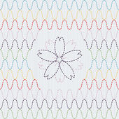 Traditional Japanese Embroidery Ornament with sakura flower. Seamless vector pattern. — Stockvektor