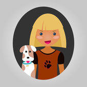 Dog lover character. Vector unisex personage for site or applica — Stock Vector