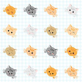 Seamless pattern with cute cats. Kitten texture, endless background. — Wektor stockowy