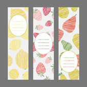 Scratched lemons strawberries and pears banners. — Stock Vector