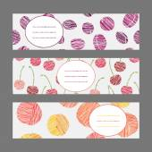 Set of Horizontal Fruit Banners. Healthy lifestyle Cards Series. — Stock Vector