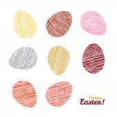 'Happy Easter!' card.  Easter eggs with Scratched texture.  Seamless pattern. — Stok Vektör